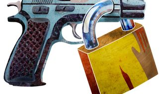 Illustration: Gun lock by Greg Groesch for The Washington Times