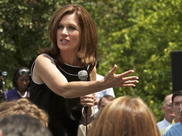 Rep. Michele Bachmann, Minnesota Republican and presidential candidate, speaks Aug. 18, 2011, at the Hall at Senate's End in Columbia, S.C., during her bus tour of the state. (Associated Press)