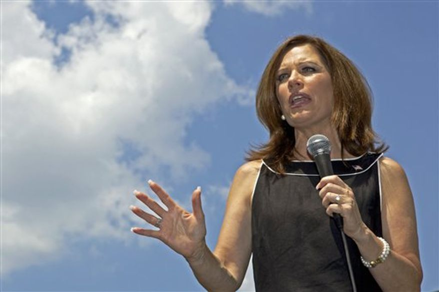 Republican presidential candidate, Rep. Michele Bachmann, R-Minn. speaks at The Hall at Senate's End, during a stop in Columbia, S.C., Thursday, Aug. 18, 2011, on her bus tour of the Palmetto State. (AP Photo/Brett Flashnick)