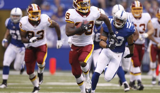 Washington Redskins running back Tim Hightower ran for 70 yards and a touchdown on six carries in the Redskins' 16-3 preseason win over the Indianapolis Colts on Friday night. (AP Photo/Michael Conroy)