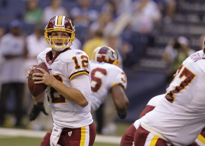 Washington Redskins QB John Beck (12) completed 14 of 17 passes for 140 yards and no touchdowns or interceptions in the Redskins' preseason 16-3 victory over the Indianapolis Colts on Aug. 1, 2011. (Associated Press)