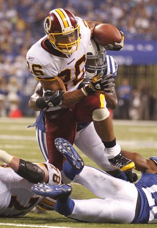 Washington Redskins running back Roy Helu ran for 101 yards and a touchdown on 14 carries during the Redskins' 16-3 preseason win over the Indianapolis Colts on Friday. (AP Photo/Michael Conroy)