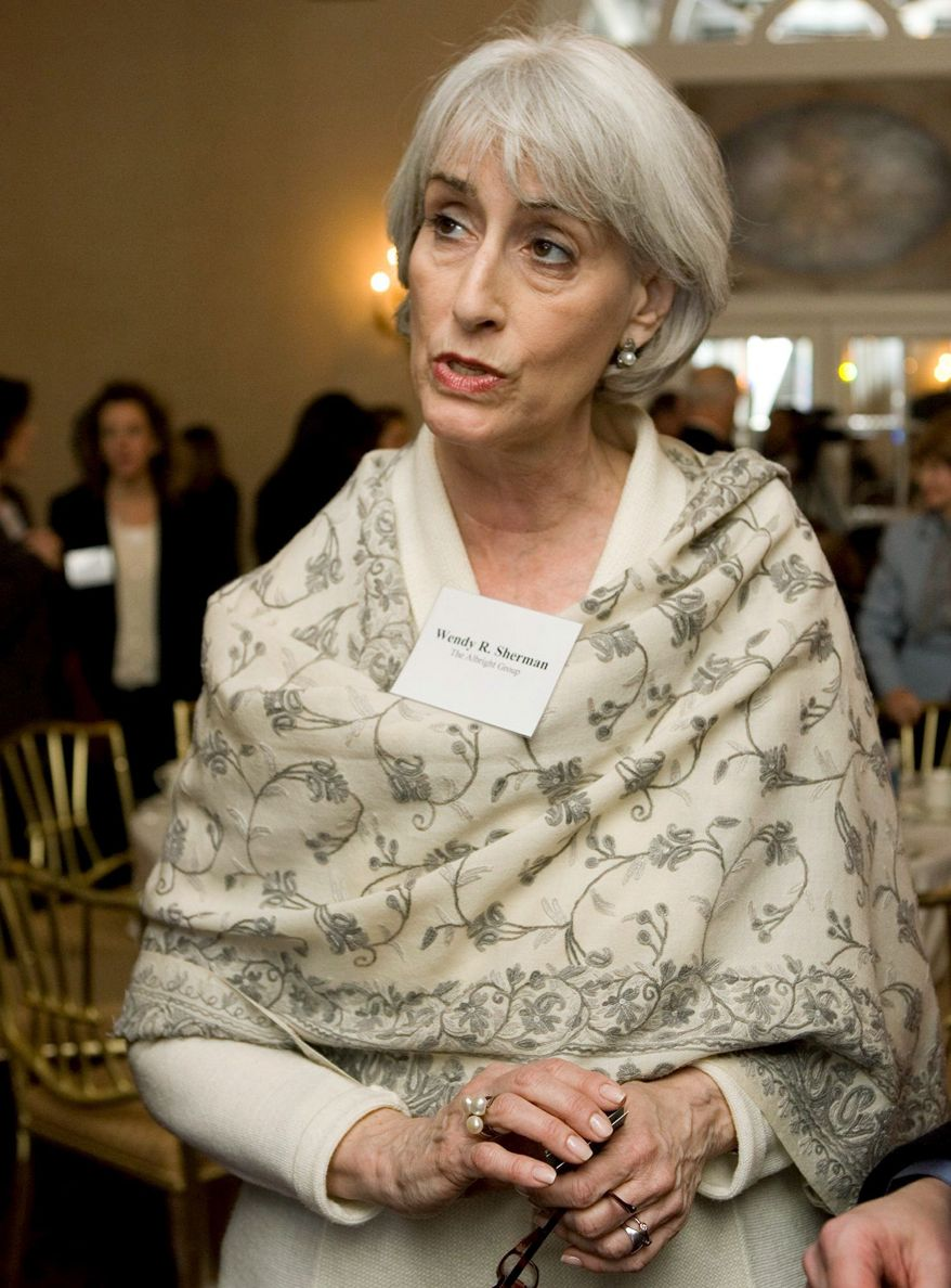 RETURNING:Wendy Sherman is leaving the private sector for a return to the State Department, where she must distance herself from former clients. (Associated Press)