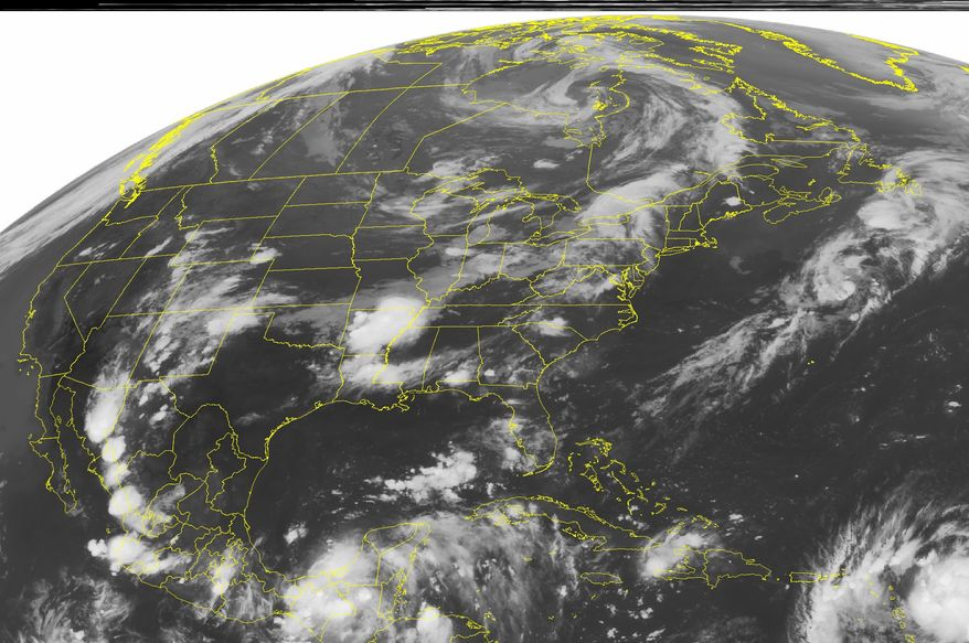 A NOAA satellite image taken on Sunday, Aug. 21, 2011, at 12 a.m. EDT shows Tropical Storm Irene in the lower right corner. (AP Photo/Weather Underground)