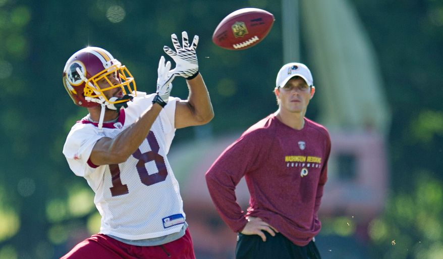 Redskins wide receiver Terrence Austin was promoted from the practice squad to the active roster late last season and finished the year with three catches, including this one against the New York Giants on Jan. 2. (Rod Lamkey Jr./The Washington Times)