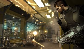 Security specialist Adam Jensen takes cover in the middle of a firefight while the player plots out his next move in the video game epic Deus Ex: Human Revolution.