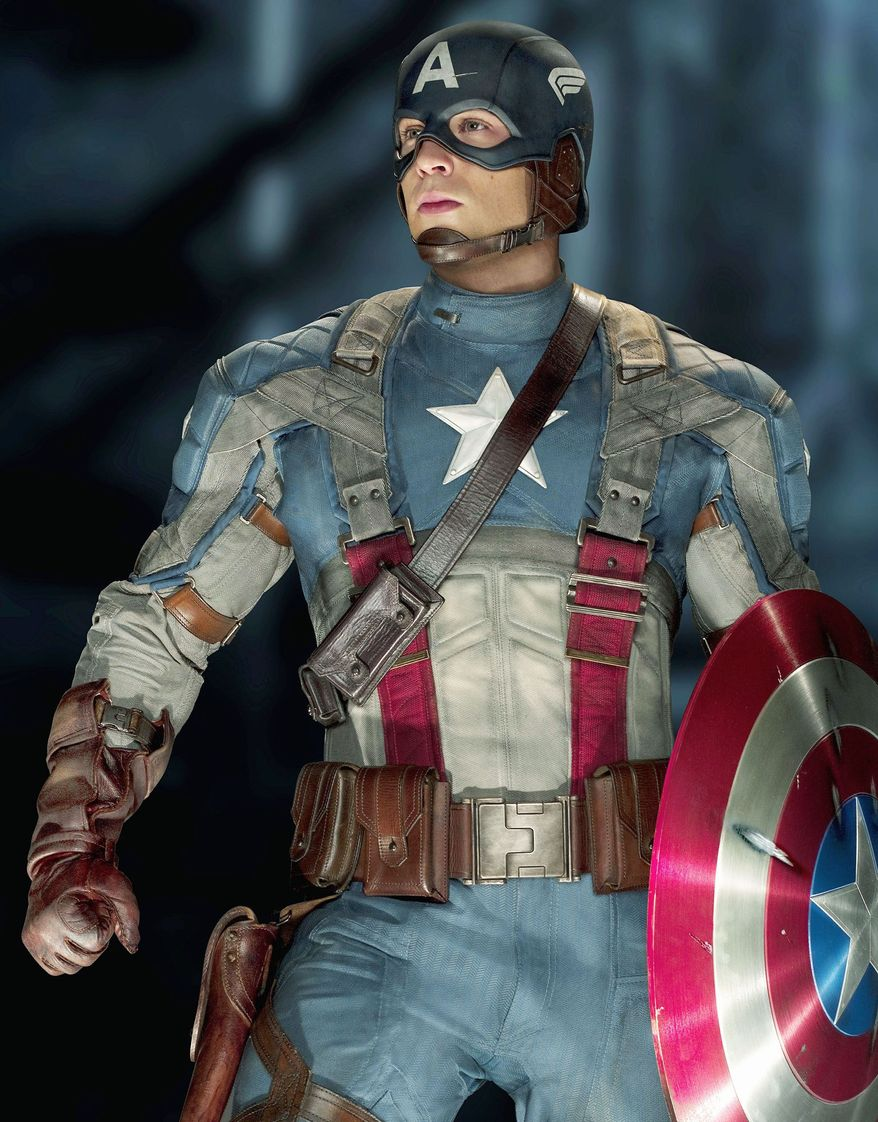Chris Evans as Captain America gained a reported 20 pounds of muscle for his superhero role. (Paramount Pictures via Associated Press)