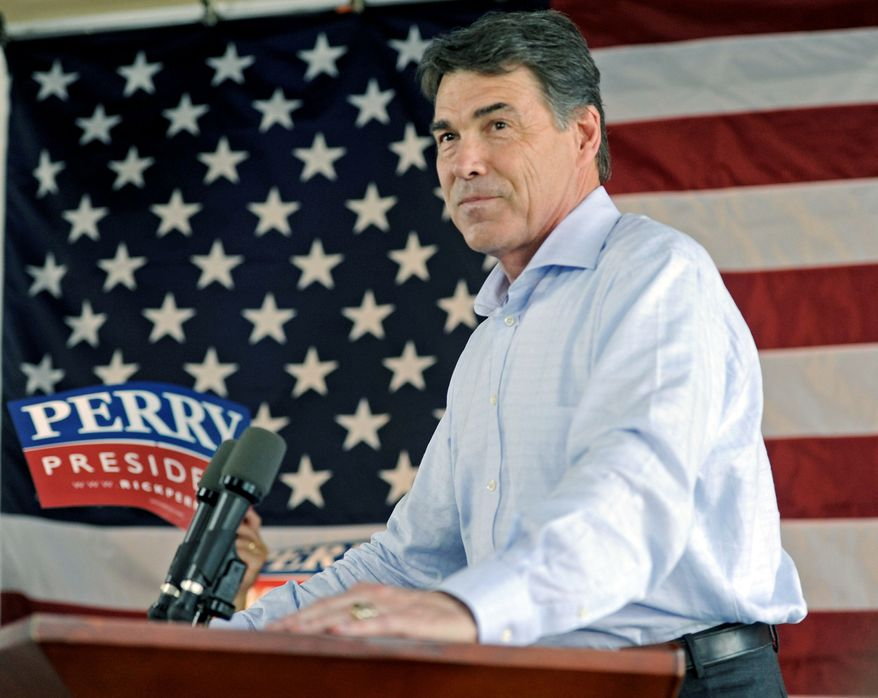 Texas Gov. Rick Perry, a Republican presidential hopeful, got welcome news from a pair of polls released Wednesday. Less than two weeks after joining the GOP presidential race, the blunt-spoken Texan, in his third full term as governor, has catapulted into the front-runner's position. (Associated Press)