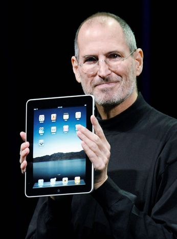 ASSOCIATED PRESS Apple Chief Executive Officer Steve Jobs holds the new iPad during a product announcement Jan. 27, 2010, in San Francisco. Apple Inc. on Wednesday announced Mr. Jobs has resigned as CEO. He is expected to be replaced by Tim Cook, who has been the company's chief operating officer. Mr. Jobs has been elected as Apple's chairman.