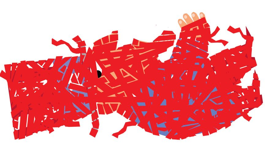 Illustration: Red tape by Alexander Hunter for The Washington Times