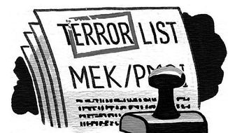 Illustration: MEK by Alexander Hunter for The Washington Times