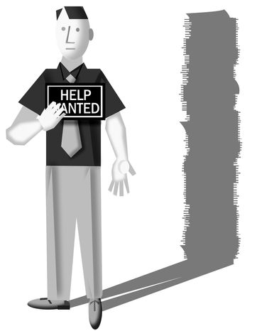 Illustration: Employment by Alexander Hunter for The Washington Times