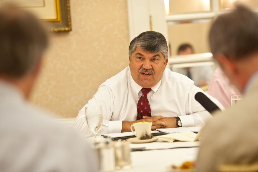 AFL-CIO President Richard L. Trumka speaks with reporters Aug. 25, 2011, during a breakfast hosted by the Christian Science Monitor at the St. Regis Hotel in D.C. (Michael Bonfigli/Christian Science Monitor)