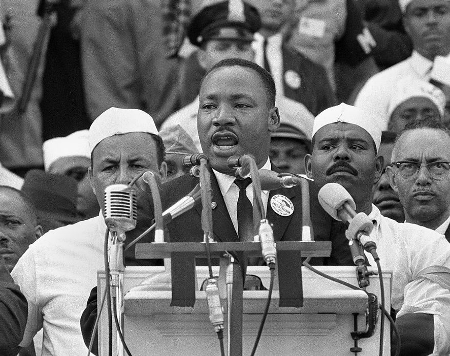 "In this Aug. 28, 1963, black-and-white file photo Dr. Martin Luther King Jr. addresses marchers during his ""I Have a Dream"" speech at the Lincoln Memorial in Washington. DreamWorks Studios announced Tuesday, May 19, 2009 it plans to make a movie about the Rev. Martin Luther King Jr., to be co-produced by Steven Spielberg. (AP Photo/File)"