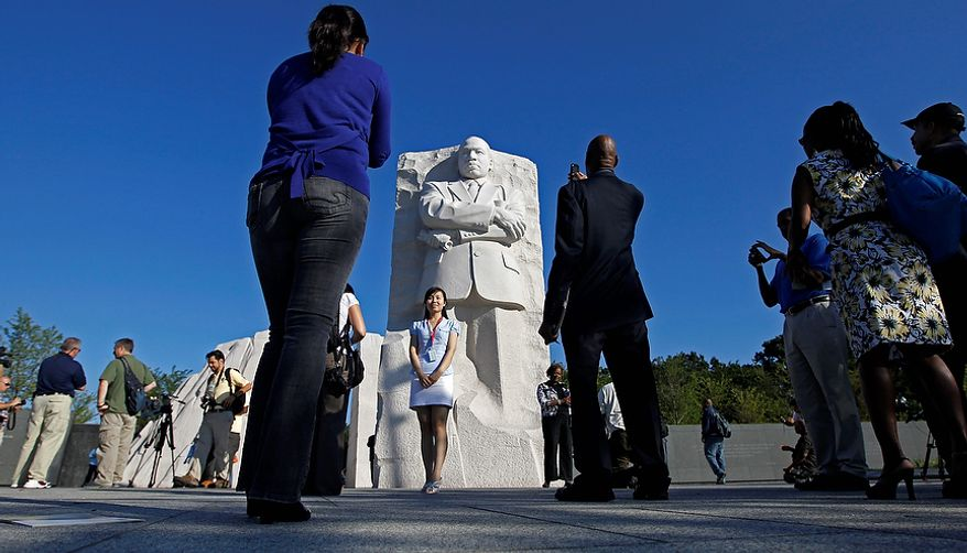 The Martin Luther King, Jr. Memorial is seen ahead of its dedication this weekend in Washington, Monday, Aug. 22, 2011. (AP Photo/Charles Dharapak)