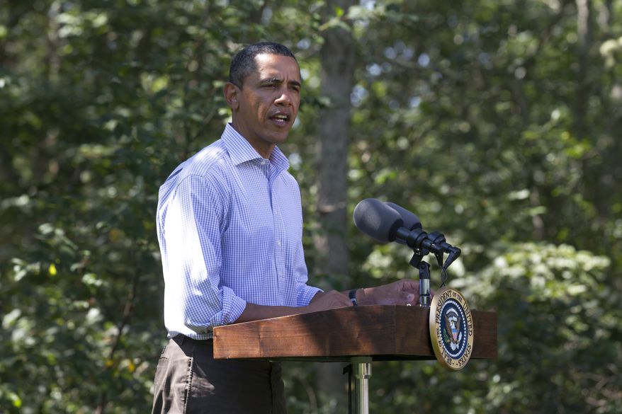 President Obama speaks about Hurricane Irene during a news conference in Chilmark, Mass. on Martha's Vineyard on Aug. 26, 2011. (Associated Press)