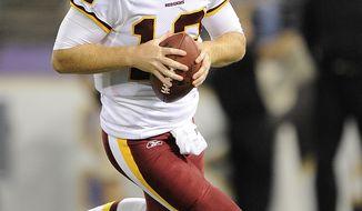 Washington Redskins quarterback John Beck will make his first start since 2007 against the Carolina Panthers on Sunday. (AP Photo/Nick Wass)
