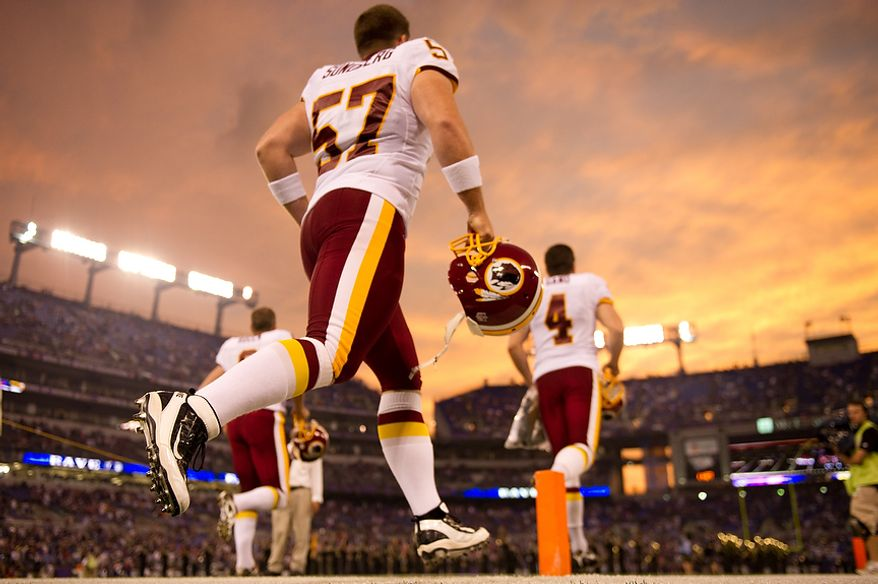 The Washington Redskins take the field for a preseason game against the Baltimore Ravens in preseason football at M&T Bank Stadium in Baltimore, MD, Thursday, August 25, 2011. (Andrew Harnik / The Washington Times)