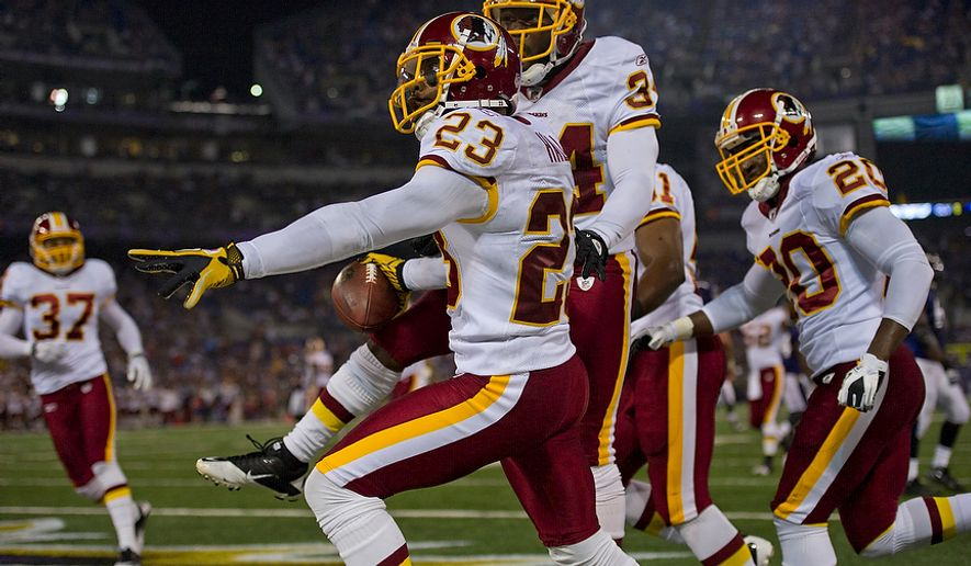 DeAngelo Hall of the Washington Redskins (23) celebrates his  touchdown from an interception in the first quarter at M & T Bank Stadium in Baltimore, Md, Thursday, August 25, 2011. (Rod Lamkey Jr./The Washington Times)