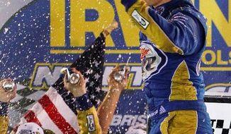 associated press Brad Keselowski celebrates after winning the NASCAR Sprint Cup Series auto race Saturday in Bristol, Tenn.
