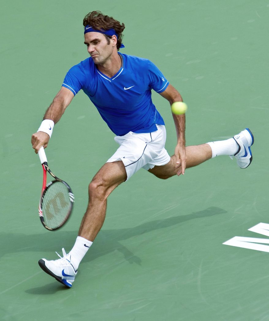 ASSOCIATED PRESS Roger Federer has a 223-33 record in Grand Slam matches, an .871 winning percentage. He faces Santiago Giraldo of Colombia on Monday.