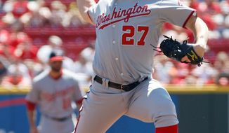 Washington Nationals pitcher Jordan Zimmermann throws against the Cincinnati Reds in the first inning of a baseball game on Sunday, Aug. 28, 2011, in Cincinnati, Ohio. (AP Photo/David Kohl)