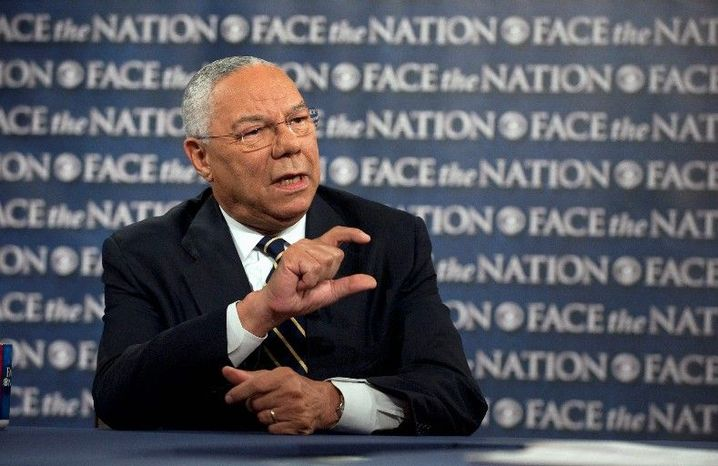 "Former Secretary of State Colin L. Powell said on CBS' ""Face the Nation"" that former Vice President Dick Cheney's new memoir takes ""cheap shots."" (CBS via Associated Press)"
