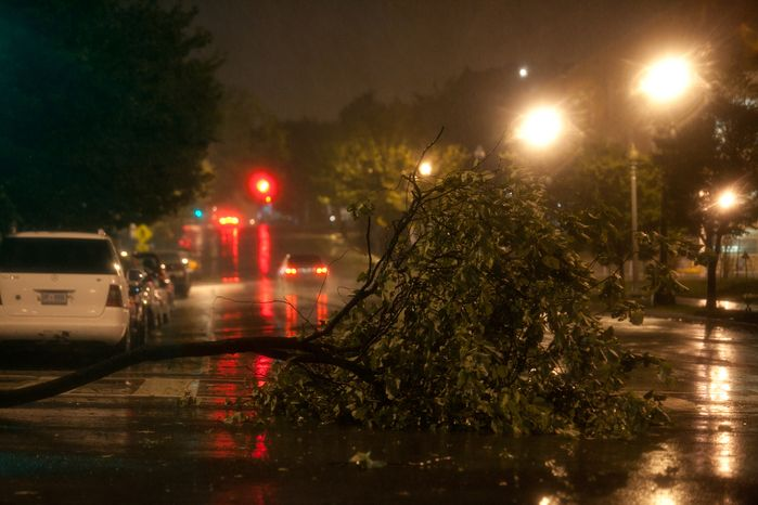 A downed tree limb lies across New Jersey Avenue and K Street Northwest in the early morning hours of Sunday, Aug. 28, 2011, as Hurricane Irene passes through the Washington region. (Andrew Harnik/The Washington Times)