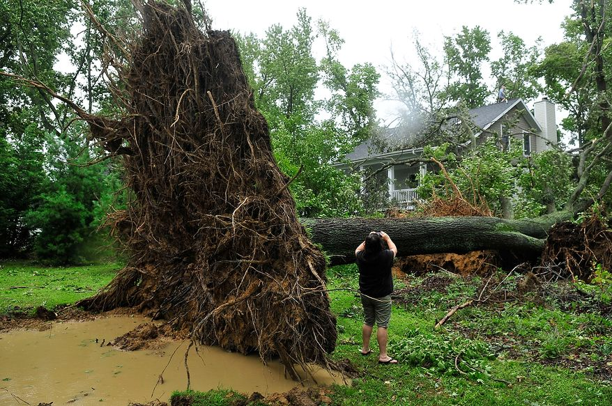 Sheryl Brungart takes a photograph of looks damage caused by an uprooted tree which crashed into a neighbors house in White Hall Manor, in Anne Arundel County, Md., Sunday, August 28, 2011. Winds and rain from Hurricane Irene uprooted trees which crashed into houses in the neighborhood on Saturday night, August 27, 2011. Nobody was hurt in the incident. (J.M. Eddins, Jr./The Washington Times)
