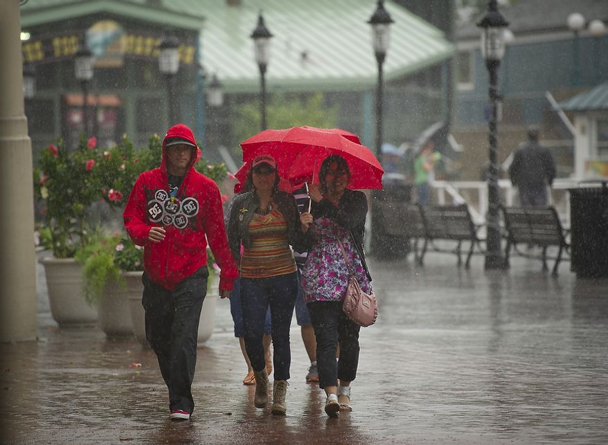 As Hurricane Irene makes her way up the Atlantic coast, are caught in the heavy downpour at the waterfront in Alexandria, Va, Saturday, August 27, 2011. (Rod Lamkey Jr./The Washington Times)