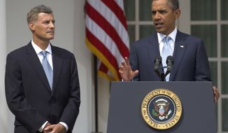 President Obama announces his selection of Alan Krueger (left), a labor economist at Princeton University, as chairman of the Council of Economic Advisers on Monday, Aug. 29, 2011, in the Rose Garden of the White House in Washington. (AP Photo/Carolyn Kaster)