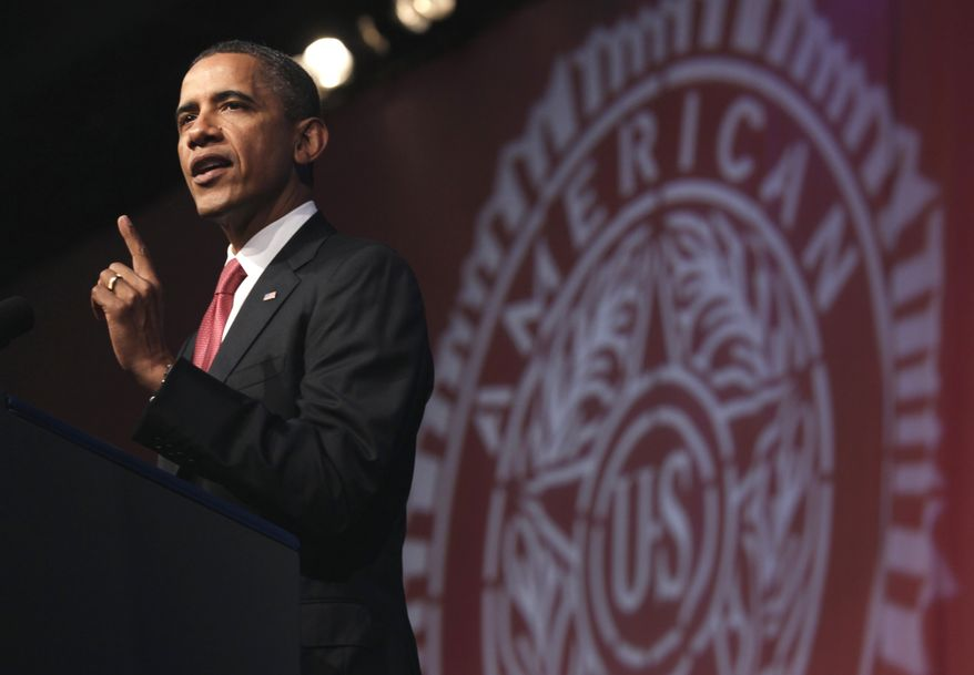 President Obama addresses the annual convention of the American Legion at the Minneapolis Convention Center in Minneapolis on Tuesday, Aug. 30, 2011. (AP Photo/Carolyn Kaster)