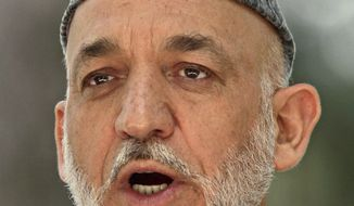 """""""We will come to an agreement only if our conditions are accepted,"""" Afghan President Hamid Karzai said."""