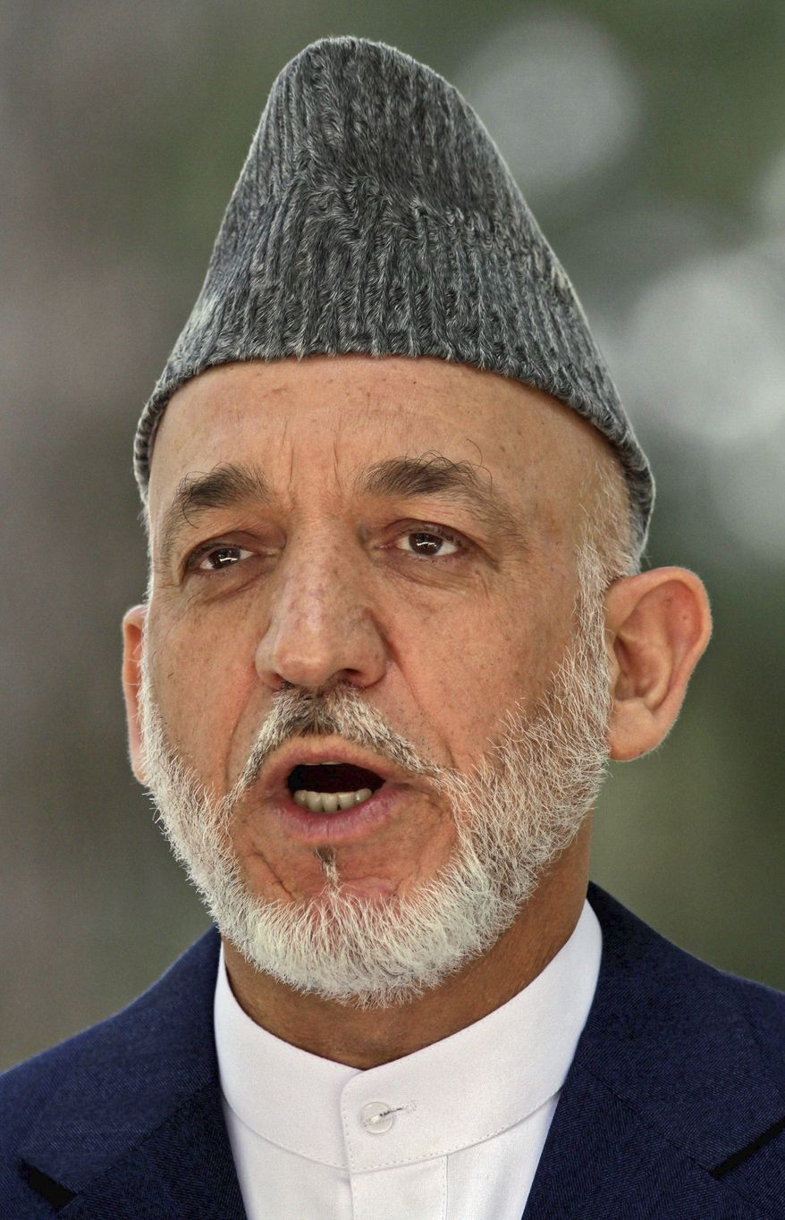 """We will come to an agreement only if our conditions are accepted,"" Afghan President Hamid Karzai said."
