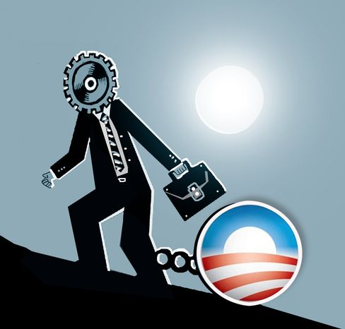 Illustration: Obama jobs by John Camejo for The Washington Times