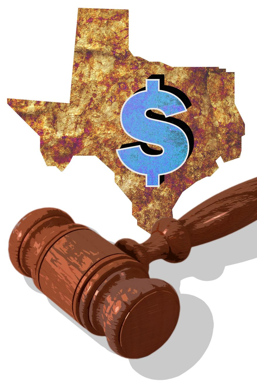 Illustration: Texas tort by Greg Groesch for The Washington Times