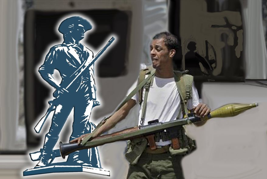 Illustration: Libyan rebel by John Camejo for The Washington Times