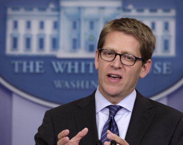 Presidential spokesman Jay Carney speaks during his daily news briefing at the White House on Aug. 31, 2011. (Associated Press)