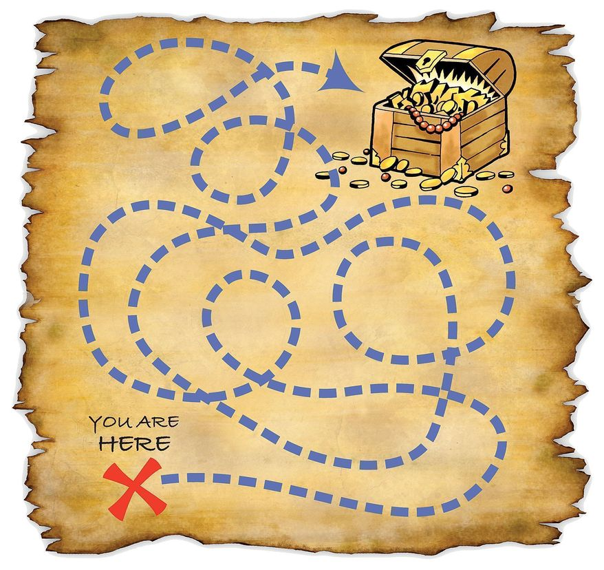 Illustration: Treasure map by Greg Groesch for The Washington Times