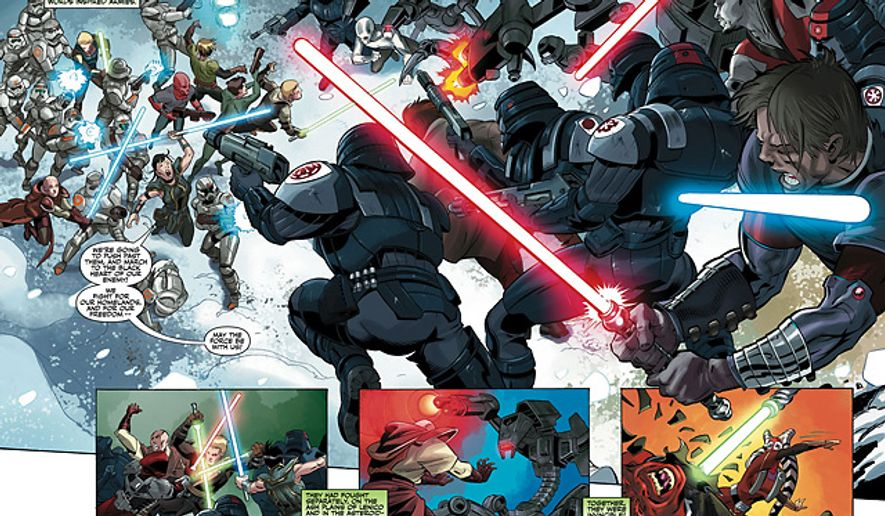 Jedi fights Sith in Dark Horse Comics' Star Wars: The Old Republic, The Lost Suns.
