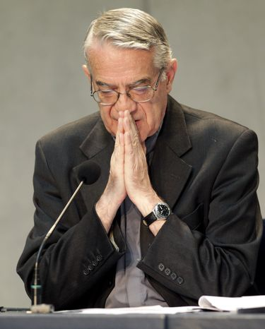 Vatican spokesman Father Federico Lombardi gestures speaks during a press conference at the Holy See Press Office, at the Vatican, Saturday, Sept. 2, 2011. (AP Photo/Pier Paolo Cito)