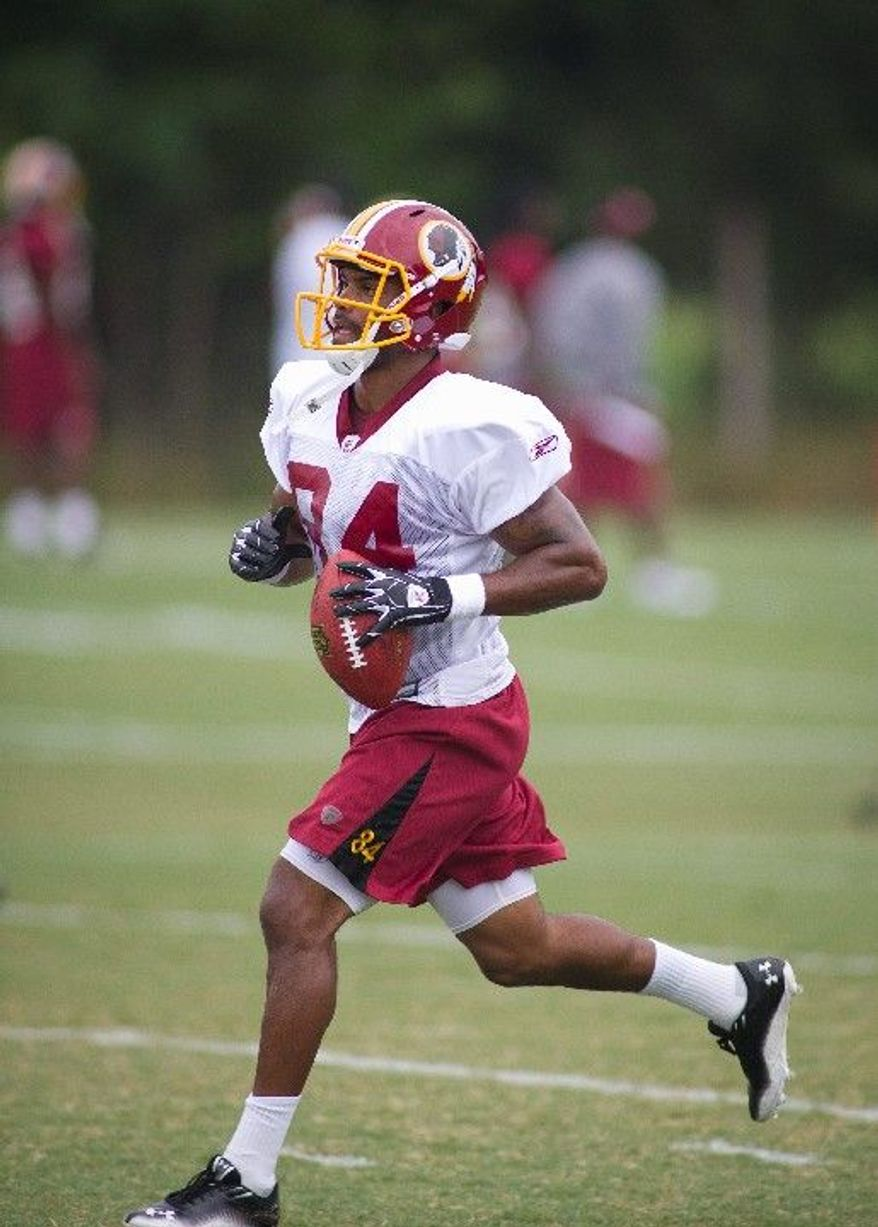 Washington Redskins rookie wide receiver Niles Paul, a fifth-round pick, is more known for his blocking skills, but with Santana Moss sidelined for three to seven weeks, Paul will be leaned on more heavily as a pass catcher. He had two catches for 25 yards in last week's loss to the Carolina Panthers. (Rod Lamkey Jr./The Washington Times).