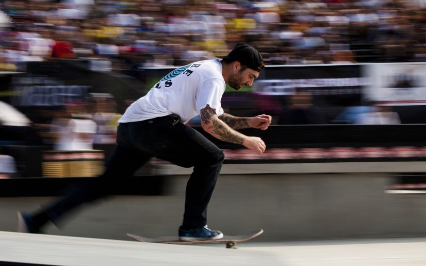 Crowd favorite Bobby Worrest of Washington accelerates during the final rounds of the Maloof Money Cup skateboarding event at RFK Stadium in Washington on Sunday, Sept. 4, 2011. (Pratik Shah/The Washington Times)