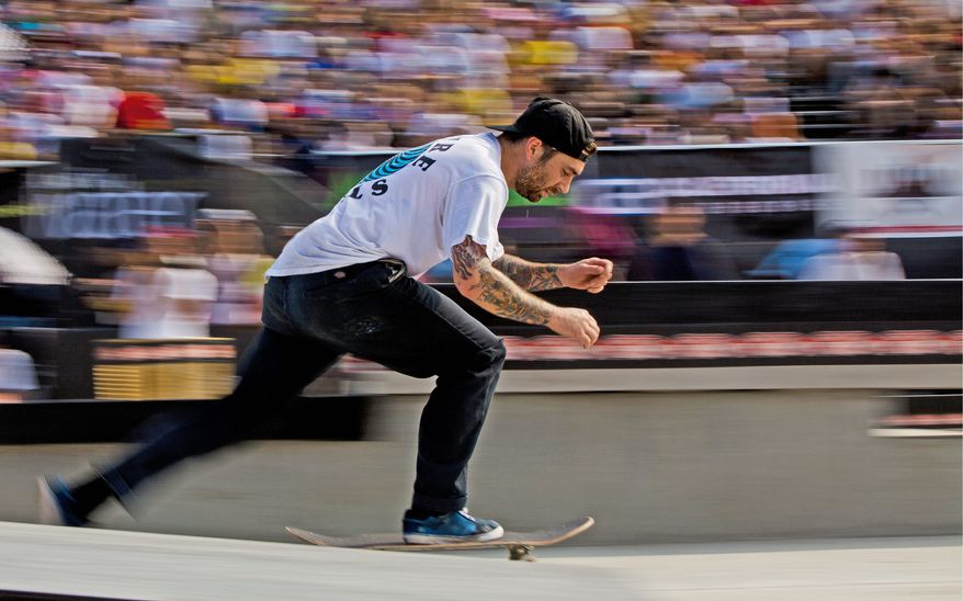 Bobby Worrest of Washington was a crowd favorite in the Maloof Money Cup competition. He accelerates during a run in the final rounds. The competition drew skateboarders from around the world. (Pratik Shah/The Washington Times)