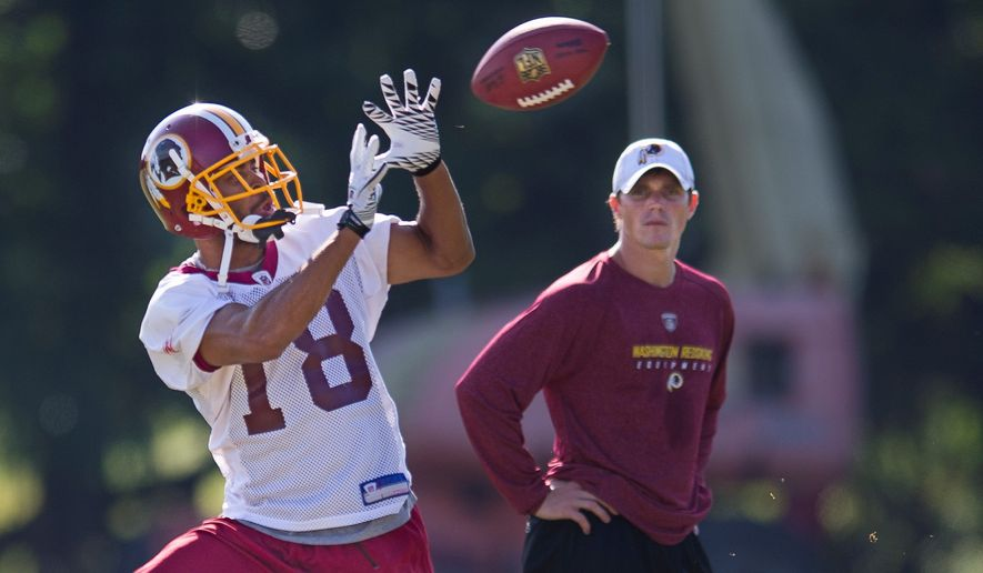 Terrence Austin caught 11 passes for 141 yards and a touchdown during the preseason. He had just three receptions last season. Donte Stallworth (below) provides a veteran presence despite the Redskins being his sixth team in his past six seasons. (Rod Lamkey Jr./The Washington Times)