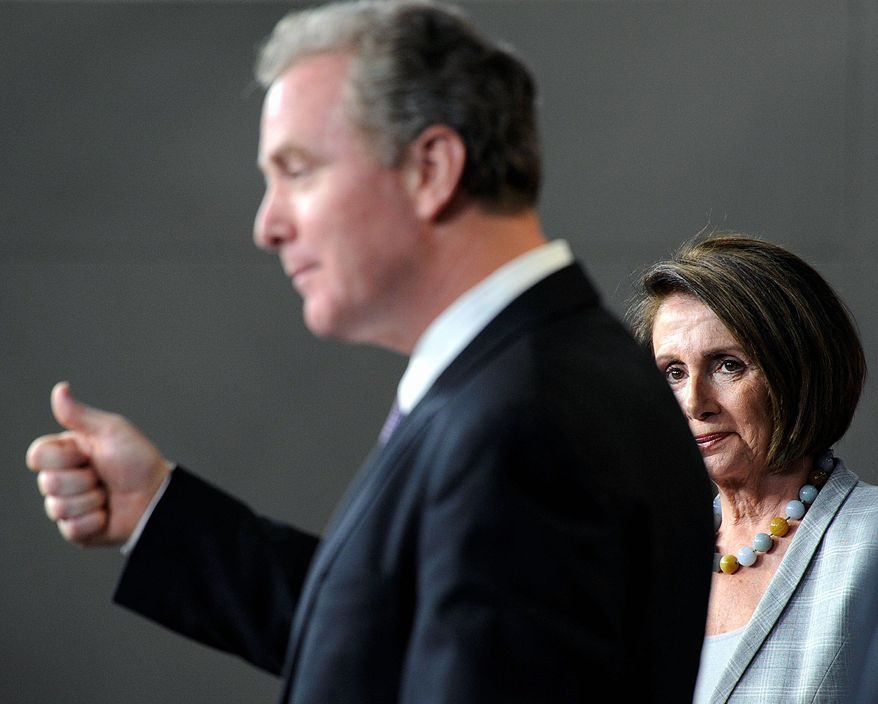 House Minority Leader Nancy Pelosi of California listens Tuesday as fellow Democratic Rep. Chris Van Hollen of Maryland discusses job creation. (Associated Press)