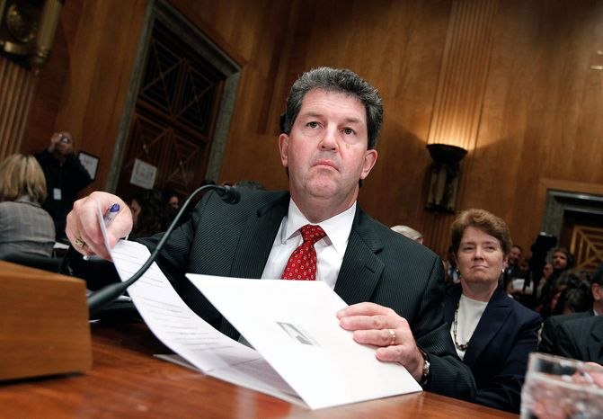 Postmaster General Patrick Donahoe appears Tuesday before the Senate Homeland Security and Governmental Affairs Committee as the panel examines the serious funding woes of the Postal Service. (Associated Press)