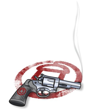 Illustration: ACORN's smoking gun by Linas Garsys for The Washington Times