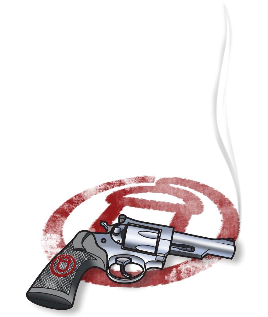 Illustration: ACORN's smoking gun by Linas Garsys for The Washington Times