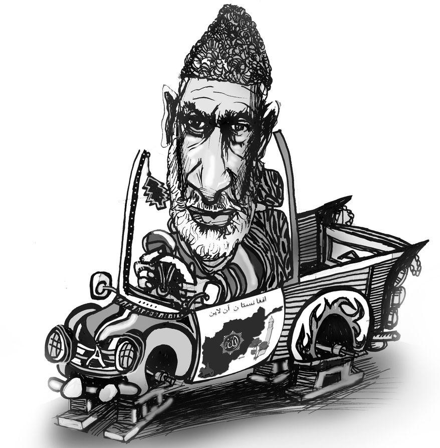 Illustration: Hamid Karzai by John Camejo for The Washington Times